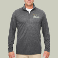 EMB-Logo - 8618 UltraClub Men's Cool & Dry Heathered Performance Quarter-Zip