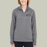 EMB-Logo - 8618W UltraClub Ladies' Cool & Dry Heathered Performance Quarter-Zip